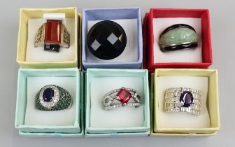 Collection of 6 rings to include silver