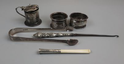 Collection of silver etc to include cigarette holder