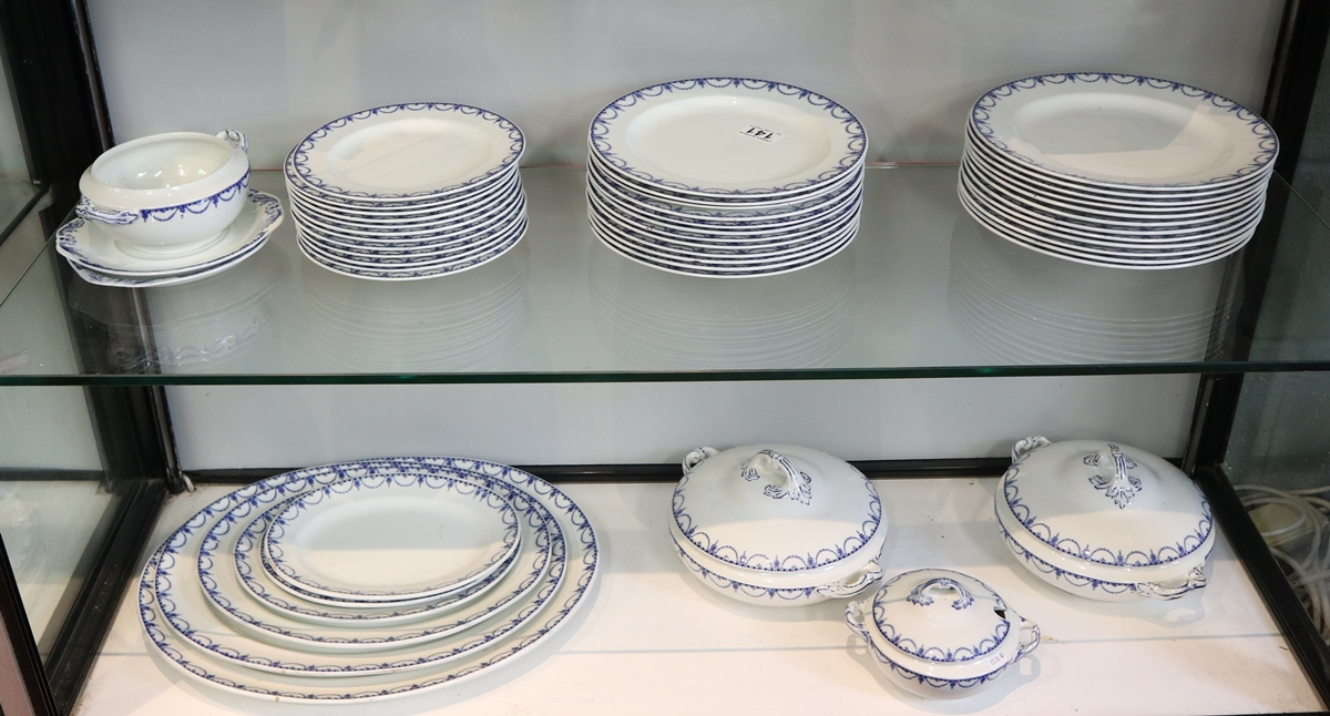 Large collection of blue & white Coronaware - Leyden pattern