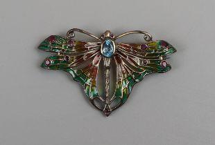 Silver & plique de jour butterfly brooch