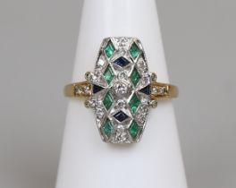 18ct gold Art Deco style sapphire, emerald & diamond ring
