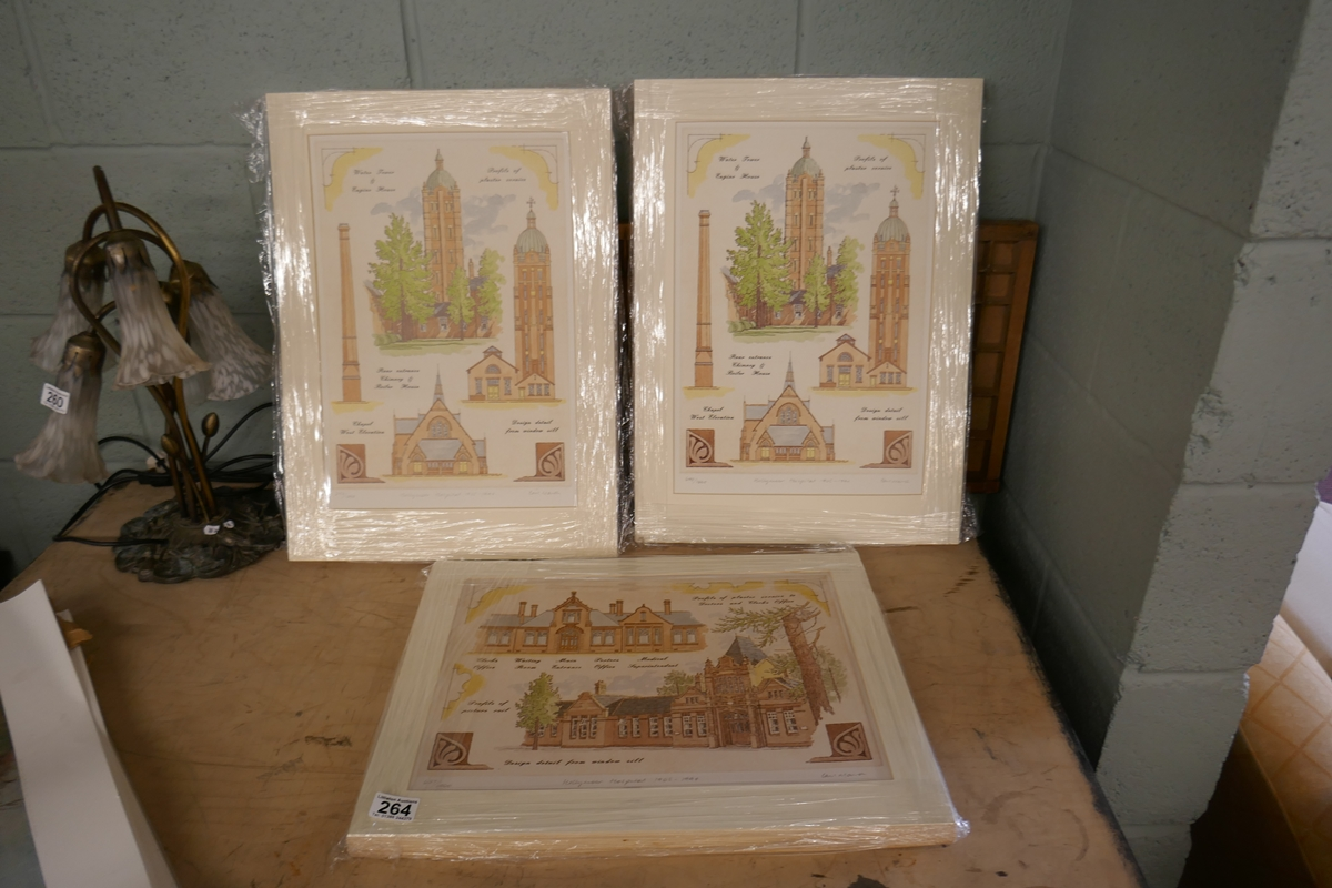 60 L/E signed architectural prints by Carl March to include duplicates