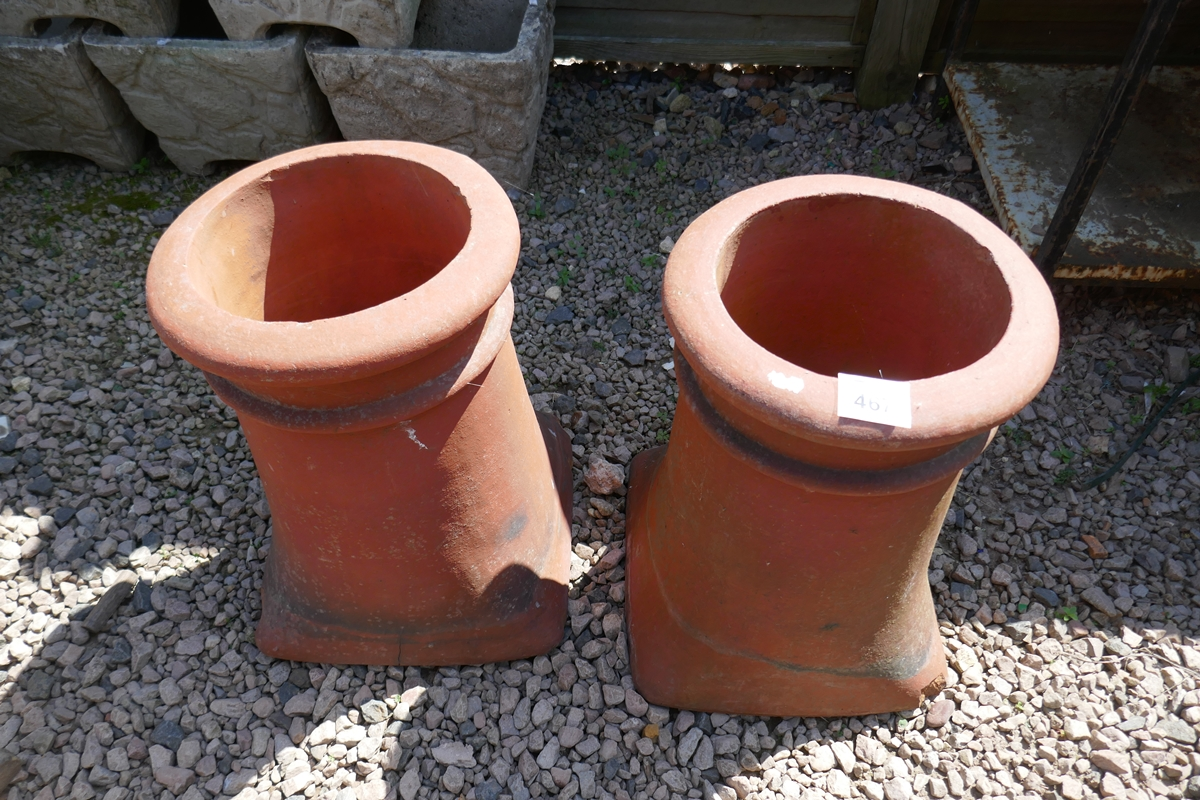Pair of terracotta chimney pots