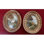 2 miniature oils - Church scenes