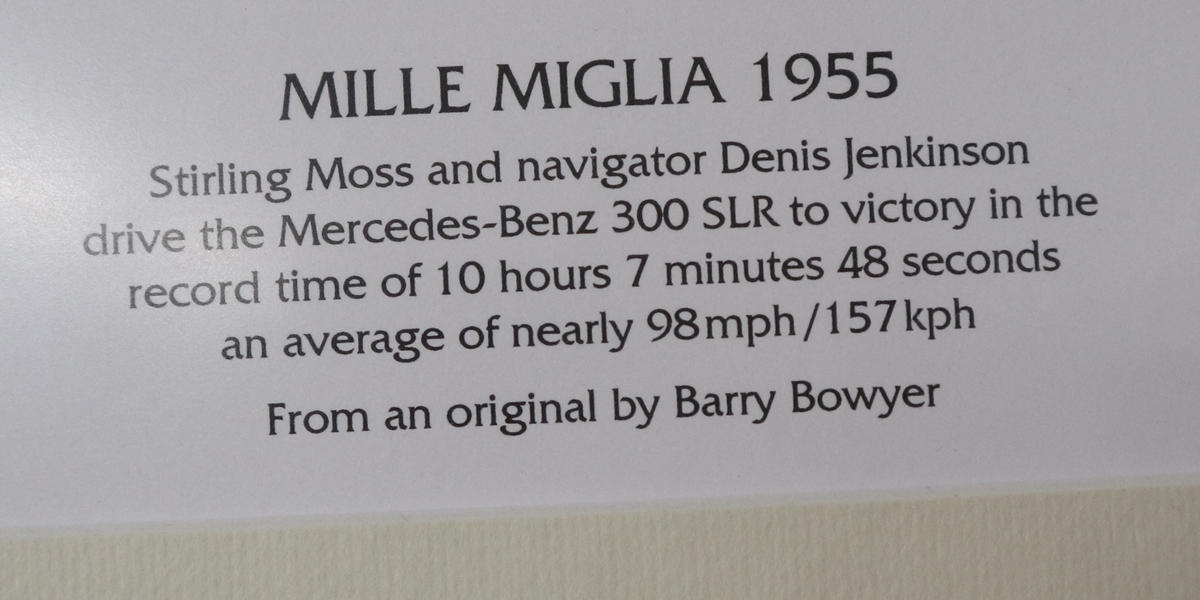 Sterling Moss print by Barry Bowyer - L/E & Signed - Image 2 of 3