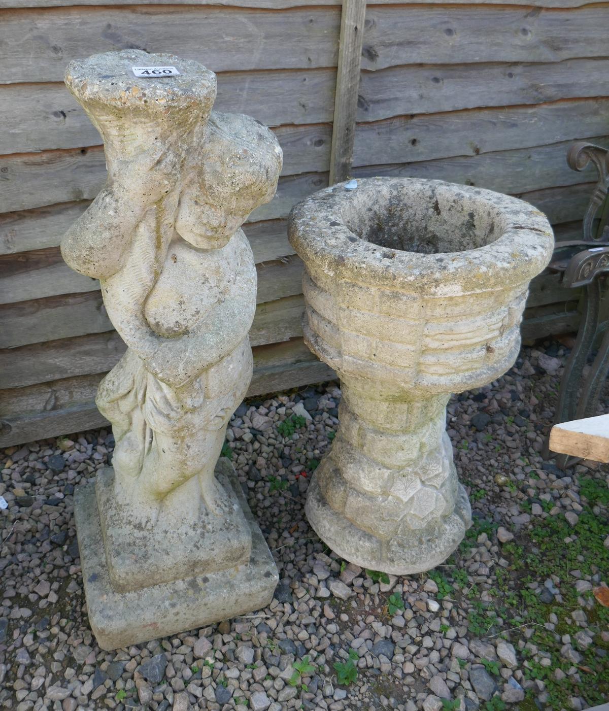 Stone statue of boy - Approx H: 74cm & stone planter