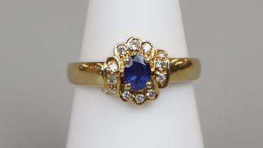 18ct gold sapphire & diamond cluster ring