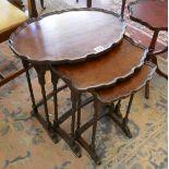 Nest of 3 pie crust walnut tables