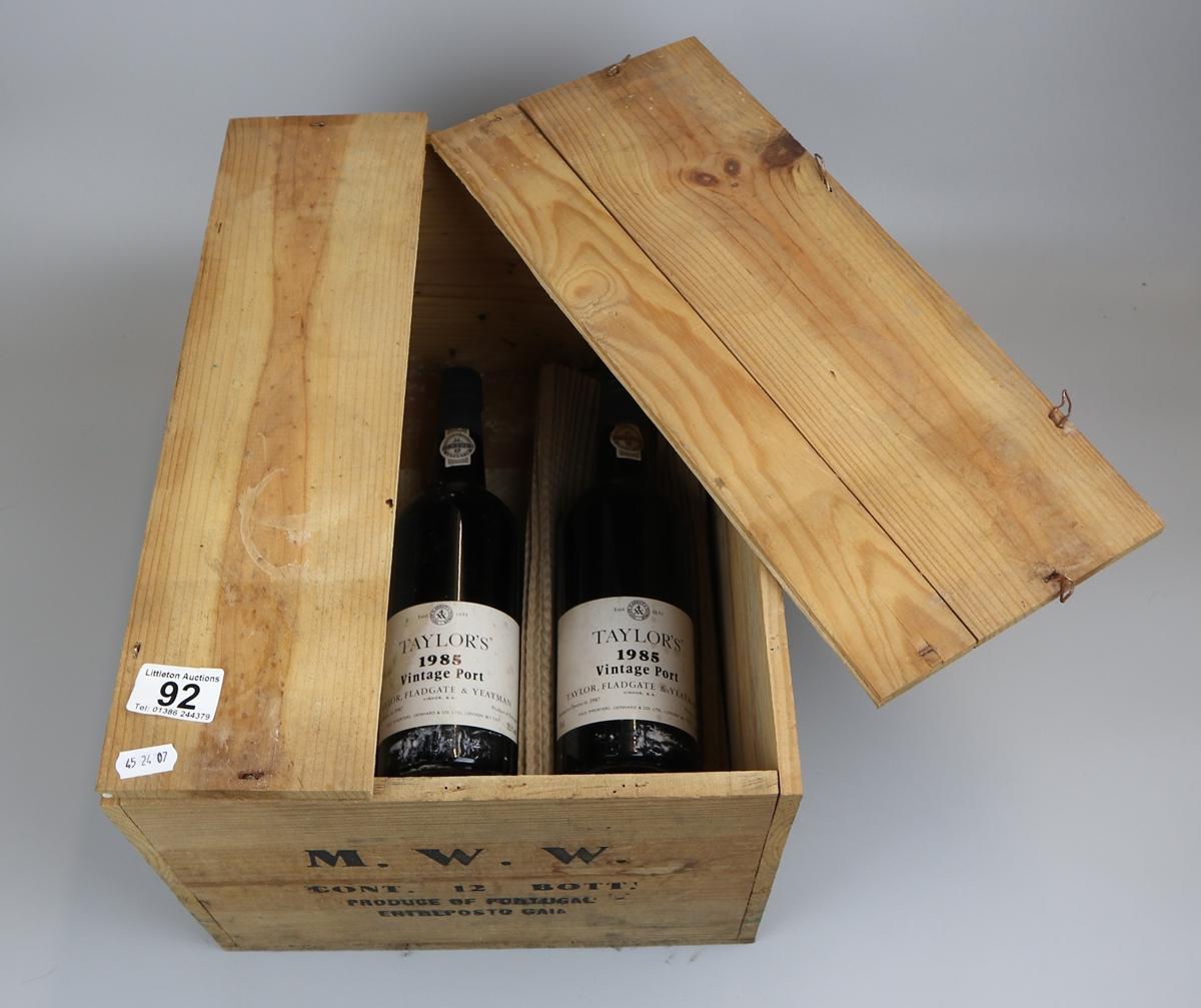 2 bottles of Taylors 1985 Vintage port in original box