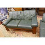 Teak framed & green leather Ekornes / Stressless 2 seater sofa