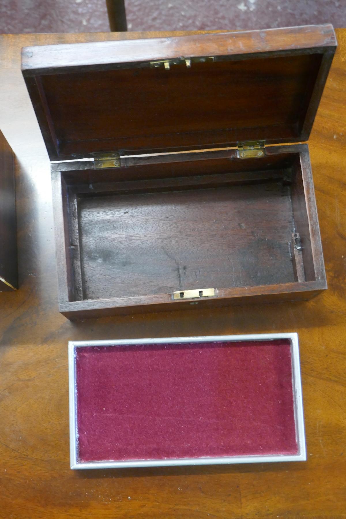 Tea caddy and small mahogany trinket box - Image 4 of 4