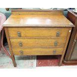 Oak utilitarian chest of drawers