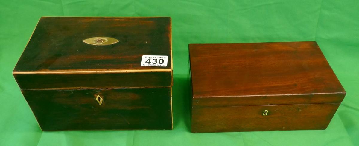 Tea caddy and small mahogany trinket box