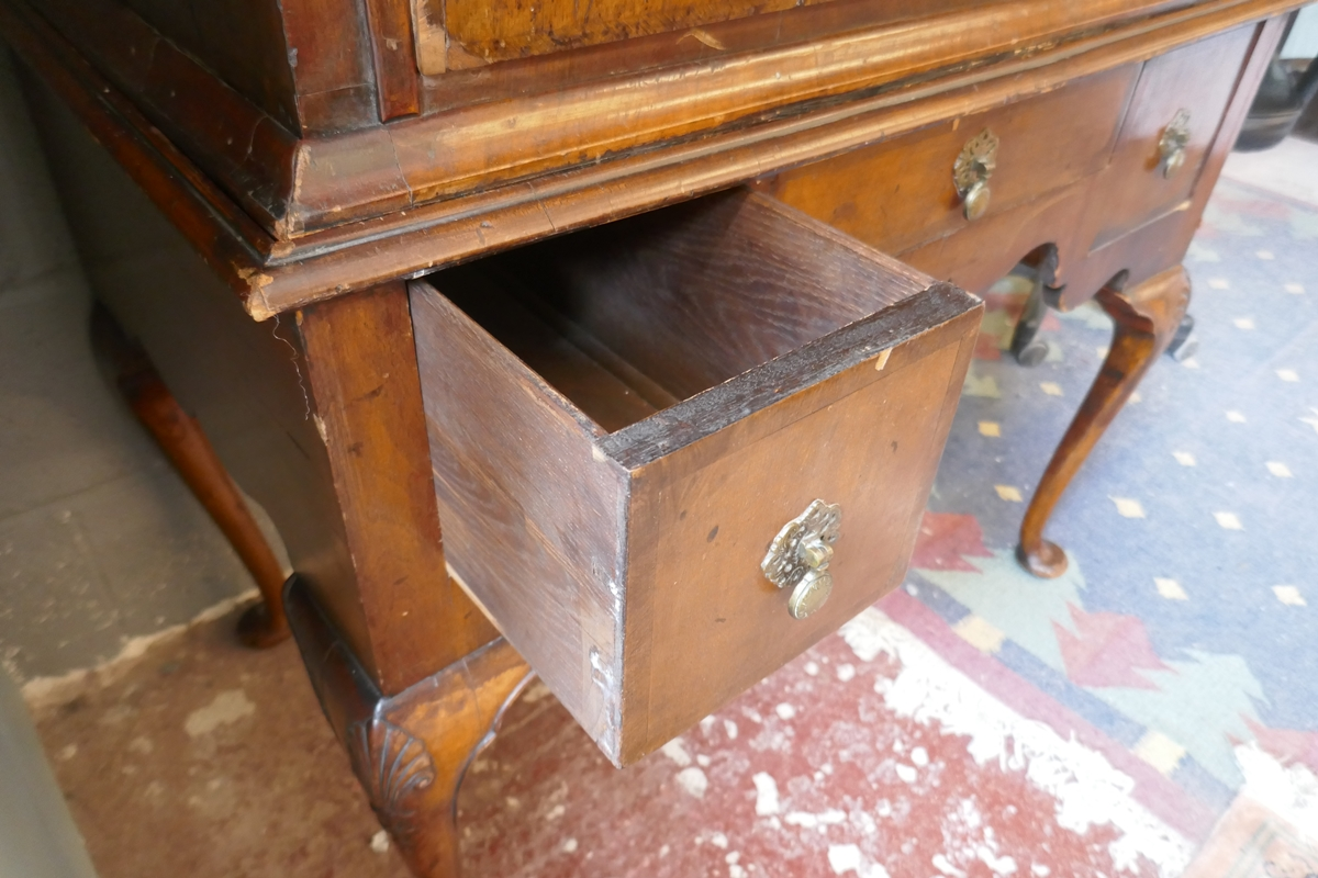 Early walnut chest on stand - Approx W: 97cm D: 56cm H: 150cm - Image 13 of 13