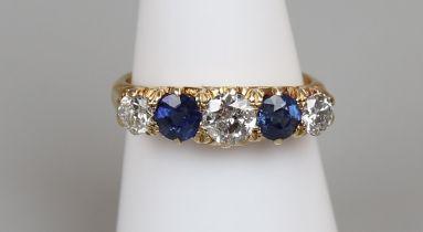 Fine 18ct gold antique sapphire & diamond ring