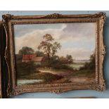 R Williams - Circa 1850 - Oil on Canvas - Farmyard scene