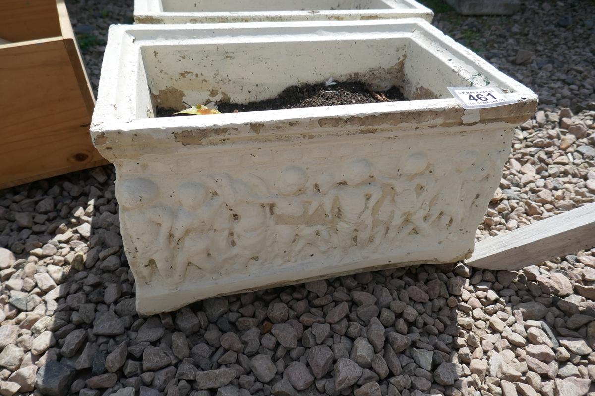 Pair of stone trough planters depicting cherubs - Image 2 of 2