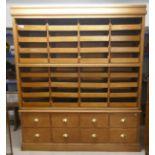 Very large Mid-Century oak haberdashery cabinet - Approx W: 182cm D: 55cm H: 214cm