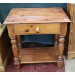 Pine side table with drawer
