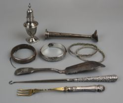Collection of silver & white metal to include powder shaker & bangles