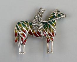 Silver enamel jockey brooch