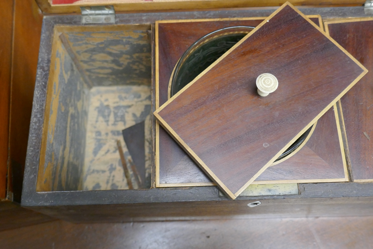 Antique tea caddy with writing slop A/F - Image 3 of 4