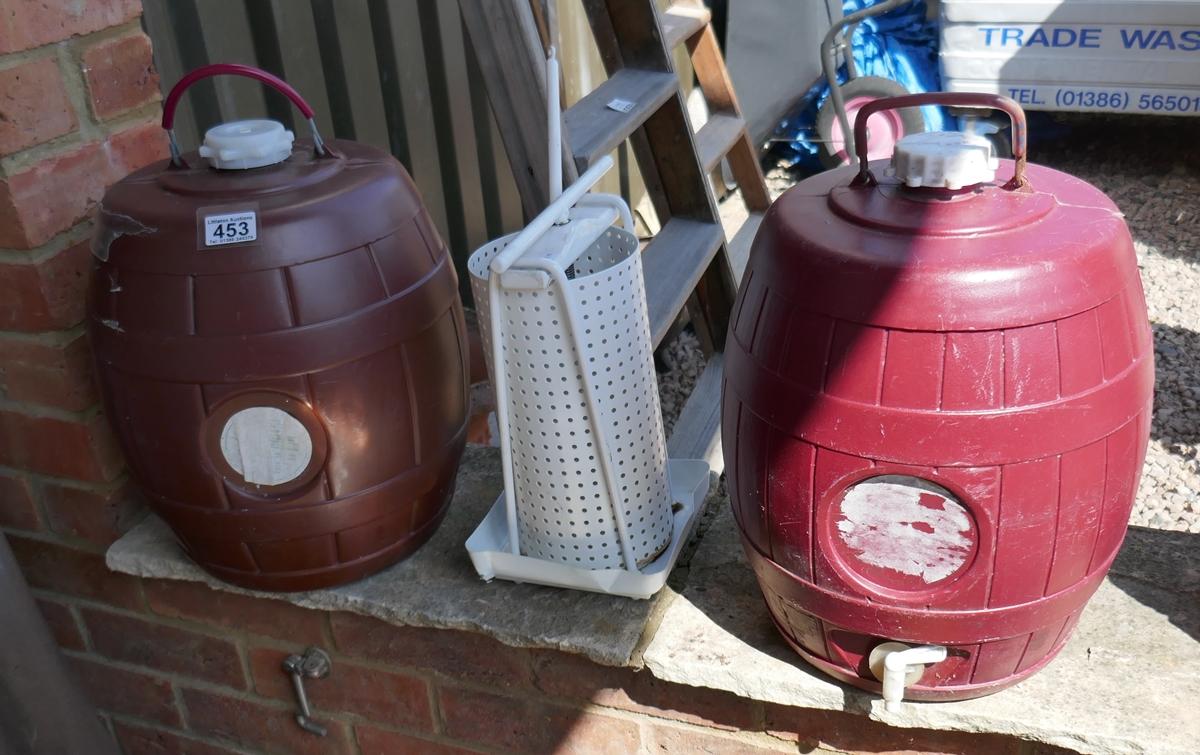 2 wine making barrels and fruit press