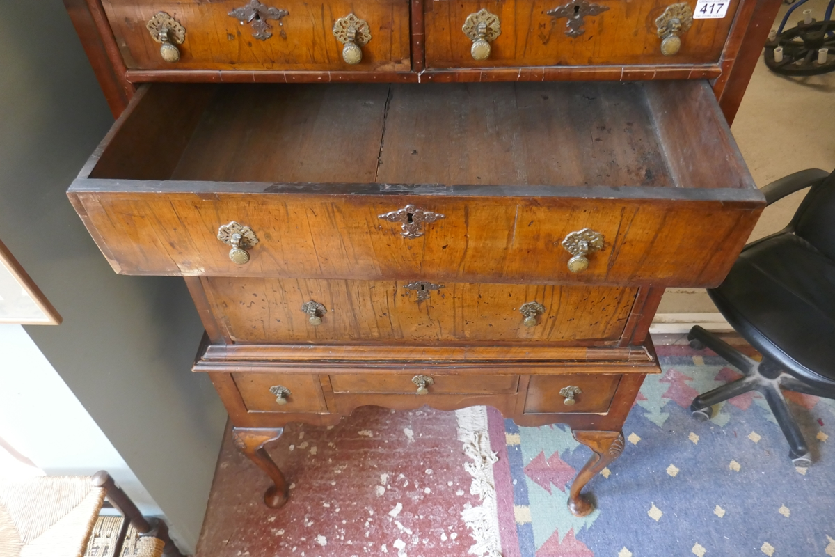 Early walnut chest on stand - Approx W: 97cm D: 56cm H: 150cm - Image 6 of 13