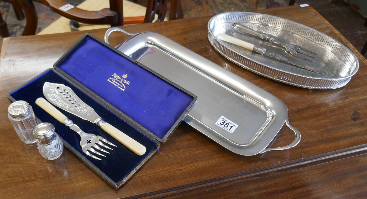 Collection of silver plate to include cased Mappin & Webb fish knife