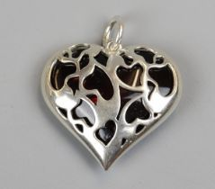 Silver & amber heart pendant