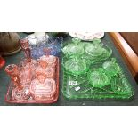 Collection of coloured glass to include dressing table sets