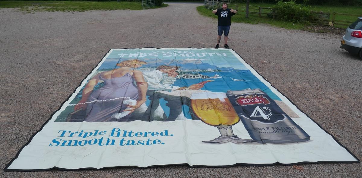 Very large Stella Artois advertising poster printed on vinyl from the Glastonbury festival - 7.5m