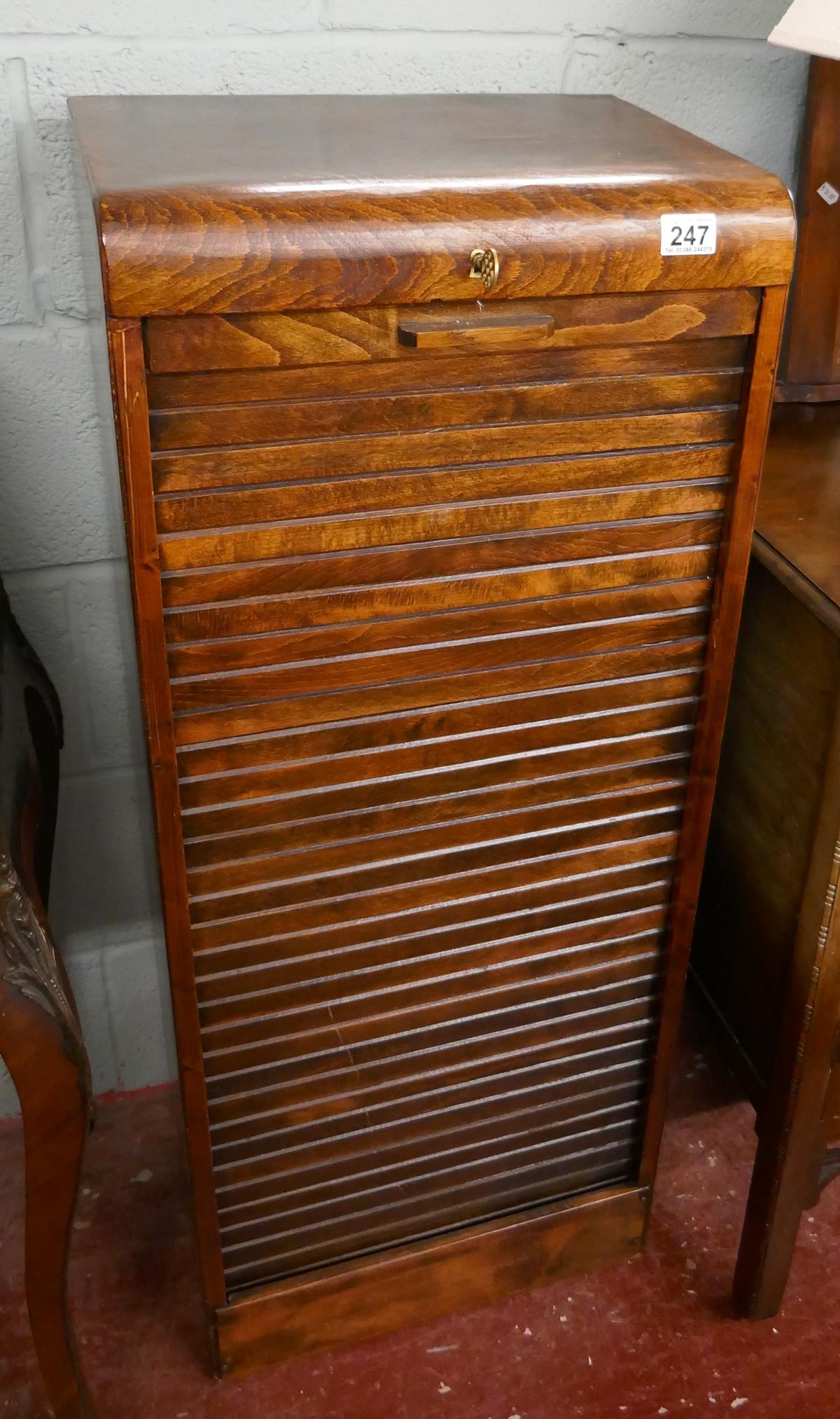 1930S tambour front cabinet - Approx W: 44cm D: 36cm H: 110cm