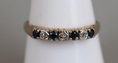 Gold sapphire & diamond set ring