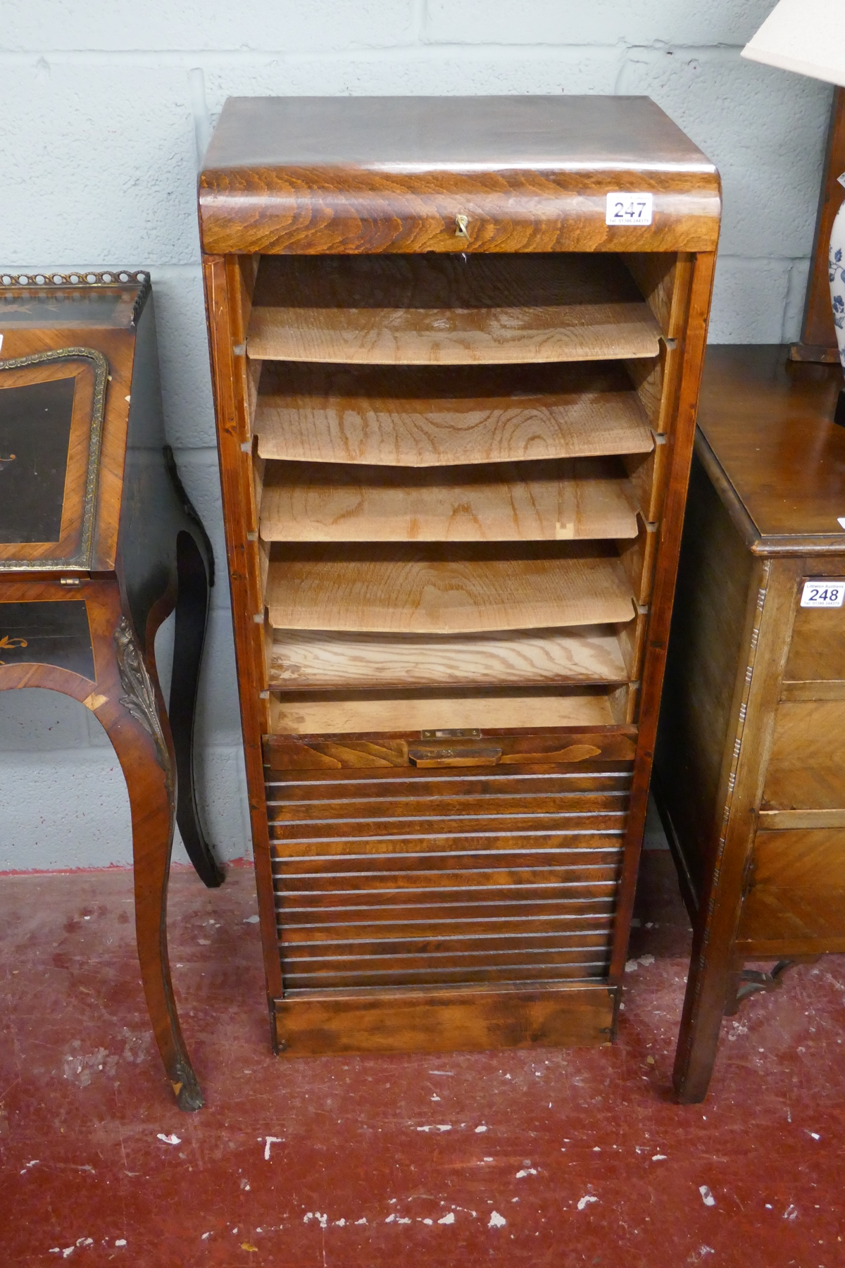 1930S tambour front cabinet - Approx W: 44cm D: 36cm H: 110cm - Image 4 of 4