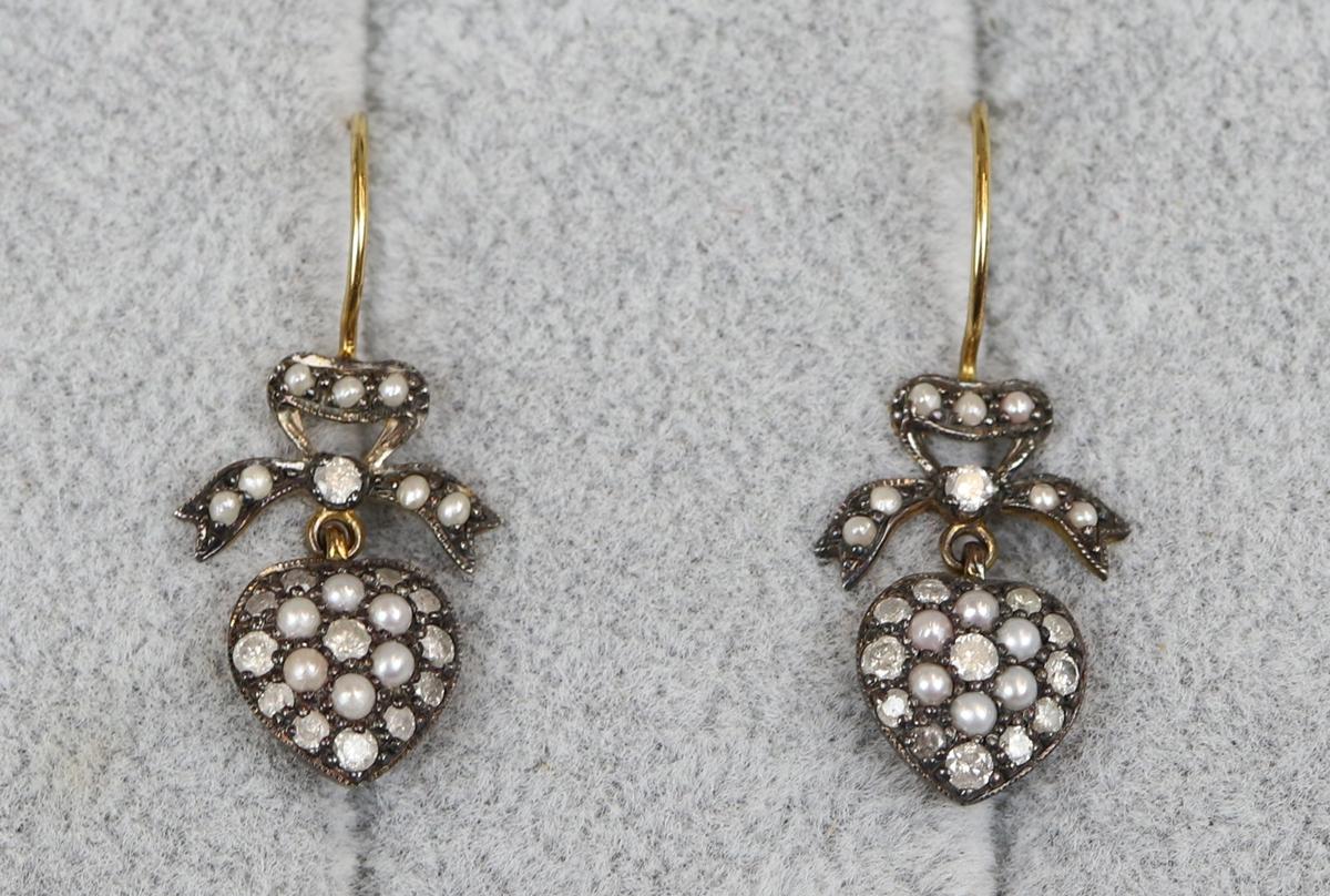 Pair of pearl & diamond heart earrings