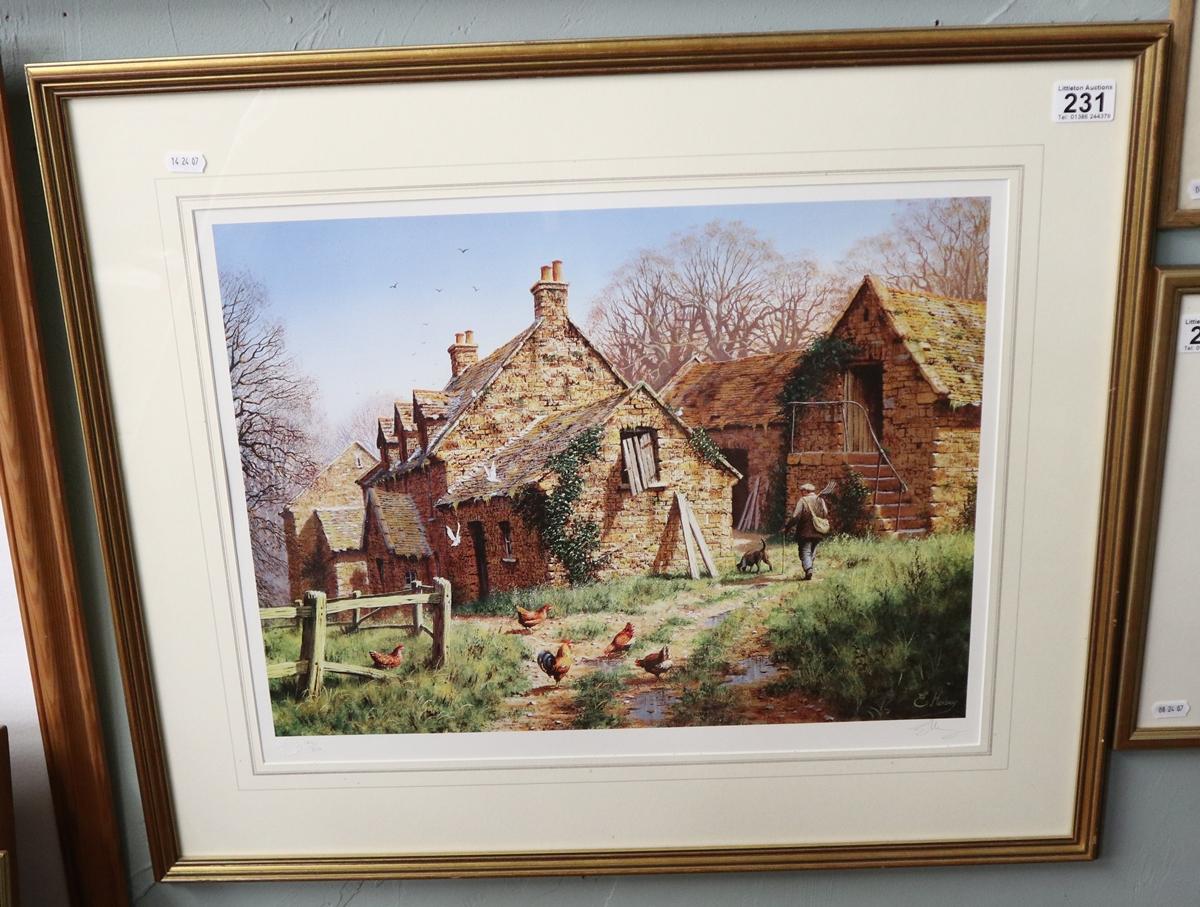 L/E signed print - Farmyard scene