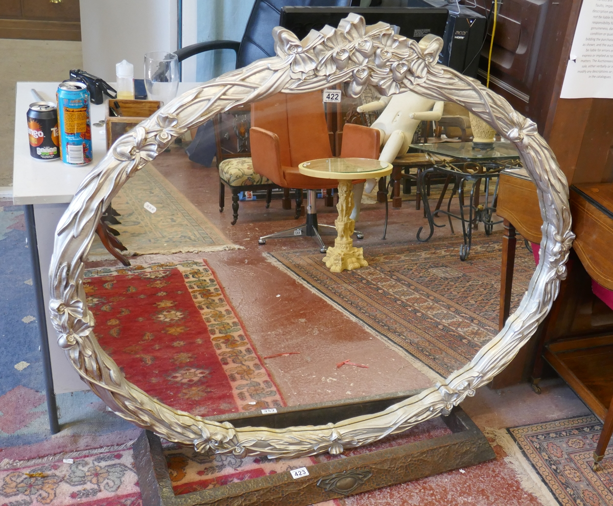 Large oval mirror in silver frame - Approx 128cm x 108cm