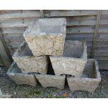 Set of 6 stone planters
