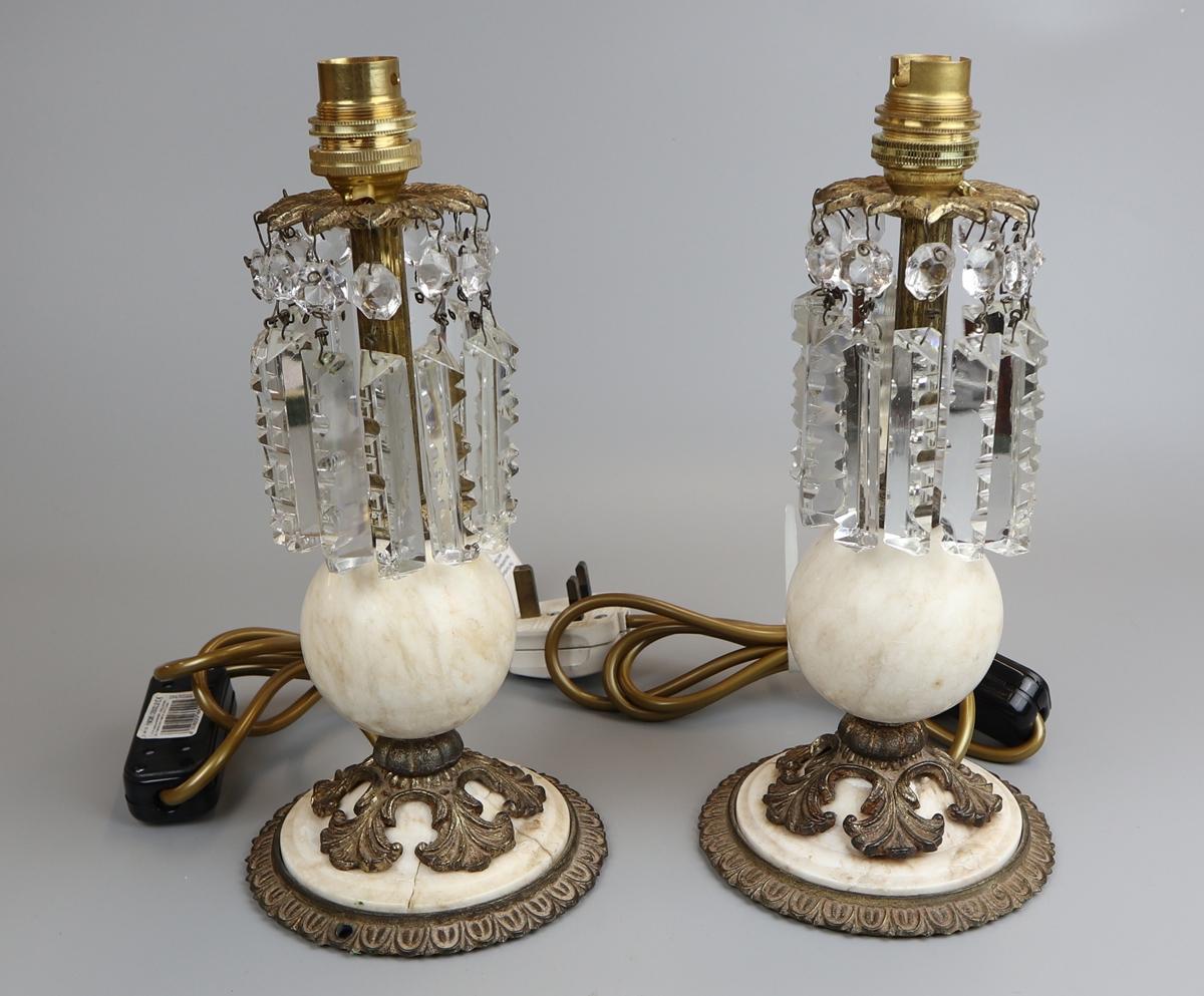 Pair of lustre antique table lamps - Approx H: 27cm