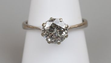 18ct white gold diamond (approx 2ct) solitaire ring