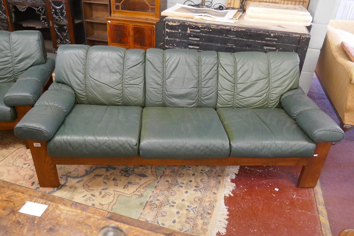 Teak framed & green leather Ekornes / Stressless 3 seater sofa