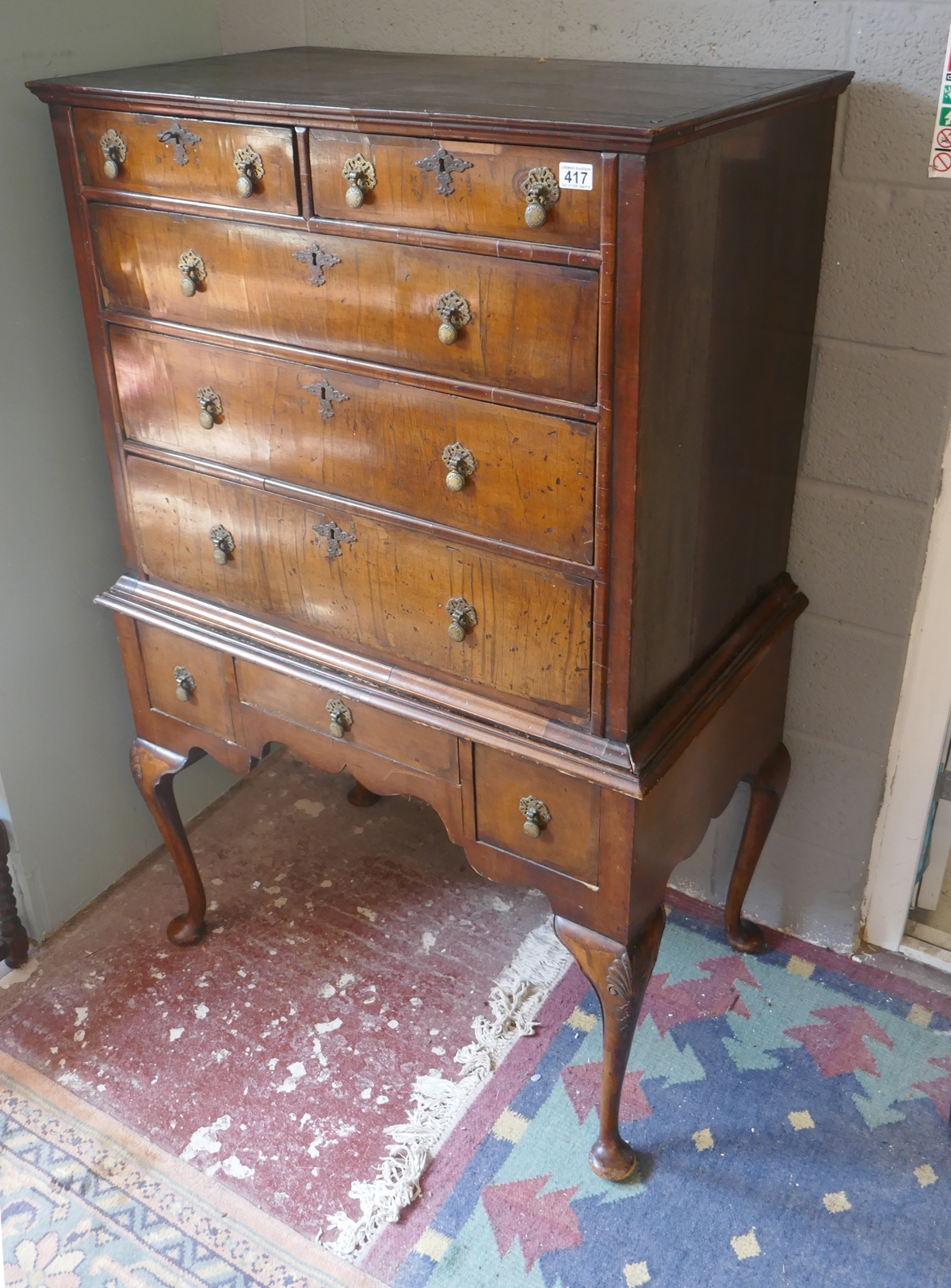 Early walnut chest on stand - Approx W: 97cm D: 56cm H: 150cm