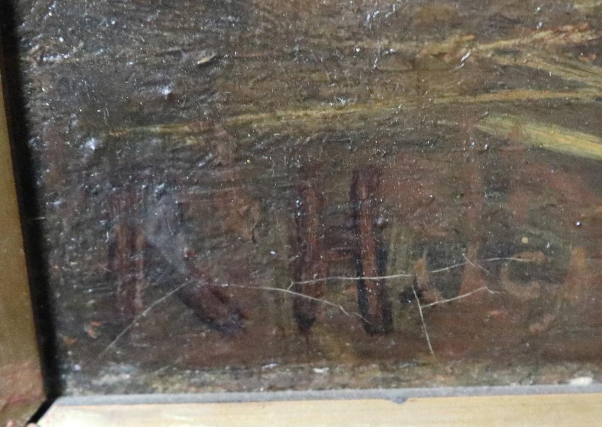K Hutchinson - Oil on canvas in gilt frame - Farmyard scene - Image 2 of 2