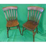 Set of 6 Elm seated slat back country house kitchen chairs