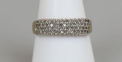 Gold 4 row diamond ring