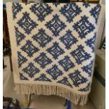 Thick cream & blue Tunisian rug - Approx 195cm x 96cm