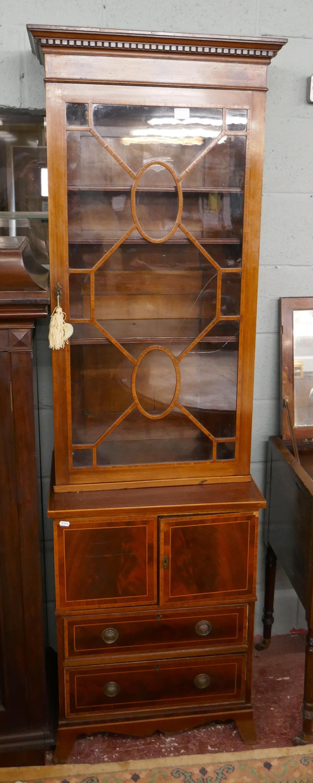 Mahogany inlaid & glazed top cabinet