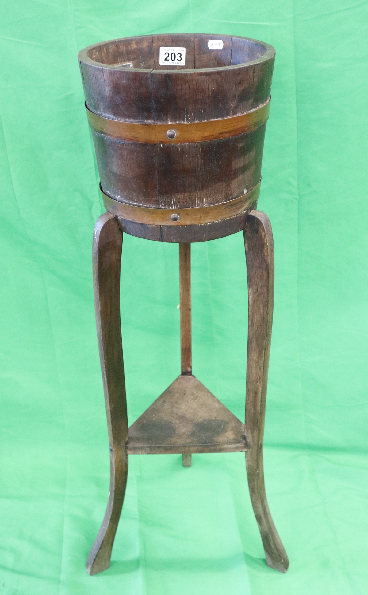 Coopered planter on stand by R A Lister & Co Ltd
