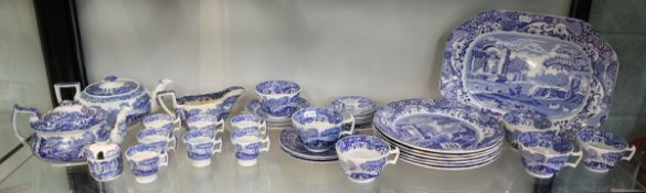 Collection of blue & white Copeland Spode